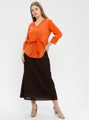 Brown - Fully Lined - Plus Size Skirt