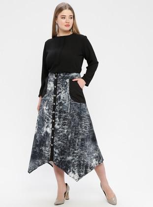 Black - Multi - Unlined - Plus Size Skirt