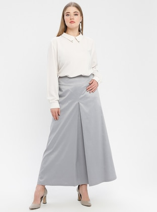Gray - Fully Lined - Plus Size Skirt