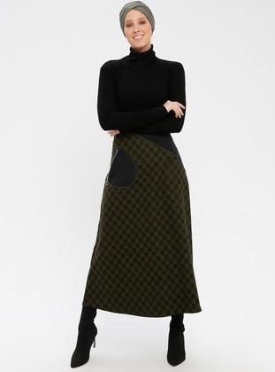 Black - Khaki - Checkered - Unlined - Skirt