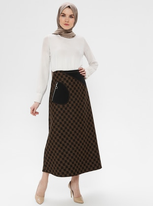 Black - Brown - Checkered - Unlined - Skirt