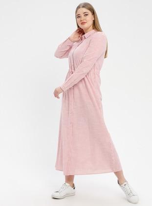 Pink - Stripe - Point Collar - Unlined - Dress