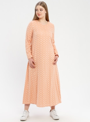 Orange - Multi - Unlined - Crew neck - Plus Size Dress