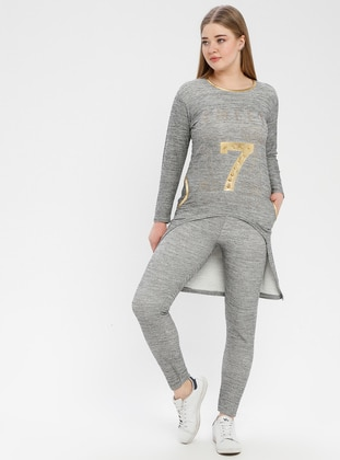 Gray - Plus Size Tracksuit