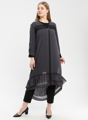 Anthracite - V neck Collar - Plus Size Tunic