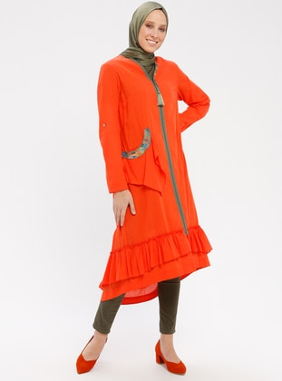 Orange - V neck Collar - Tunic