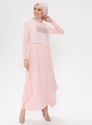 Pink - Crew neck - Fully Lined - Dress
