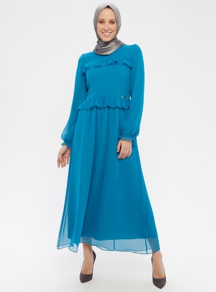 Turquoise - Crew neck - Fully Lined - Dress