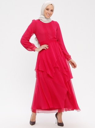 Pink - Fuchsia - Crew neck - Fully Lined - Dress