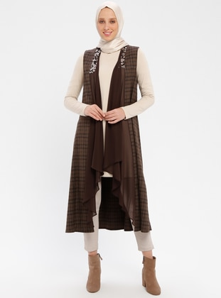 Brown - Checkered - Unlined - Shawl Collar - Vest