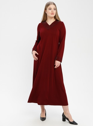 Maroon - V neck Collar - Unlined - Dress