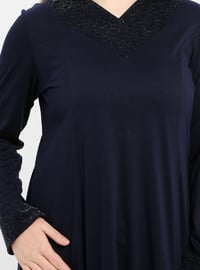 Navy Blue - V neck Collar - Unlined - Dress