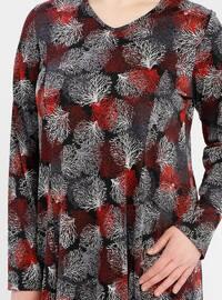 Red - Multi - V neck Collar - Unlined - Dress