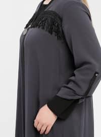 Anthracite - V neck Collar - Plus Size Tunic