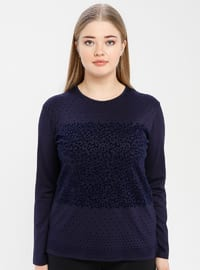 Navy Blue - Crew neck - Plus Size Blouse