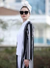 Black - White - Stripe - Unlined - Jacket