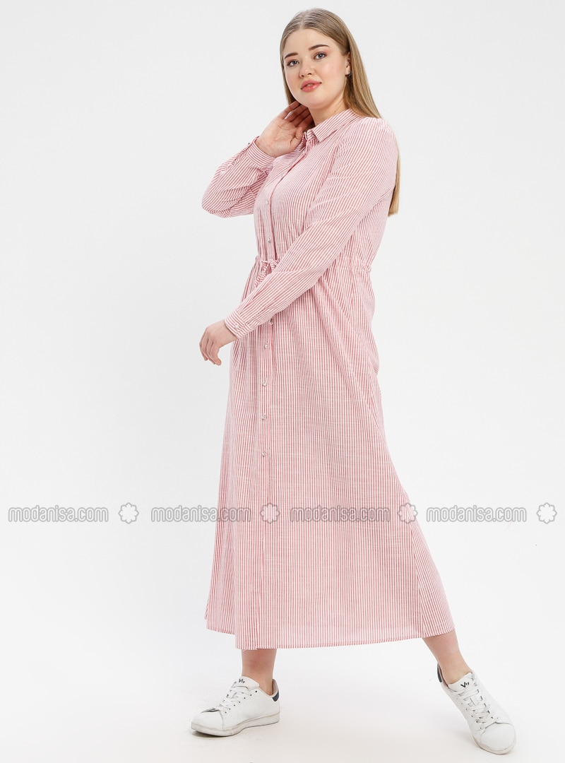 Pink - Stripe - Point Collar - Unlined - Dress