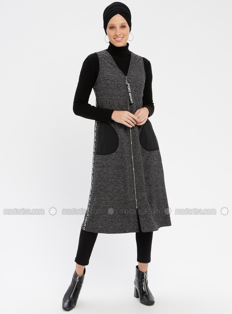 Black - White - Gray - Unlined - V neck Collar - Vest