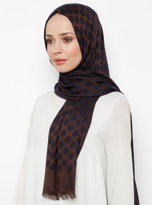 Brown - Polka Dot - Fringe - Viscose - Shawl