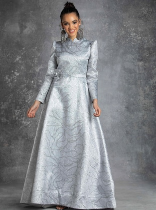 Gray - Multi - Crew neck - Muslim Evening Dress - Eldia By Fatıma