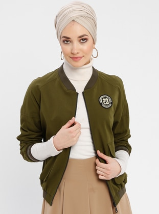 Khaki - Fully Lined - Crew neck - Puffer Jackets
