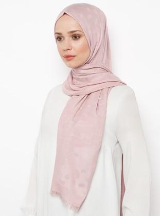 Pink - Fringe - Shawl Patterned - Viscose - Shawl