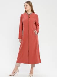 Terra Cotta - Unlined - Crew neck - Plus Size Coat