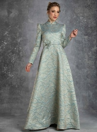 Green - Multi - Crew neck - Muslim Evening Dress - Eldia By Fatıma