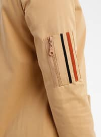 Camel - Fully Lined - Crew neck - Puffer Jackets