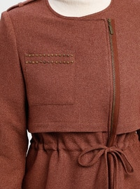 Brown - Fully Lined - Crew neck - Topcoat