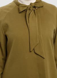 Olive Green - Fully Lined - Button Collar - Coat