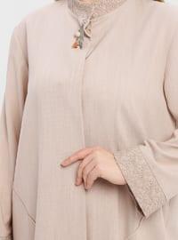 Camel - Unlined - Button Collar - Plus Size Coat