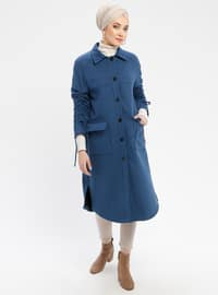 Indigo - Fully Lined - Point Collar - Coat