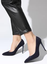 Navy Blue - High Heel - Sports Shoes