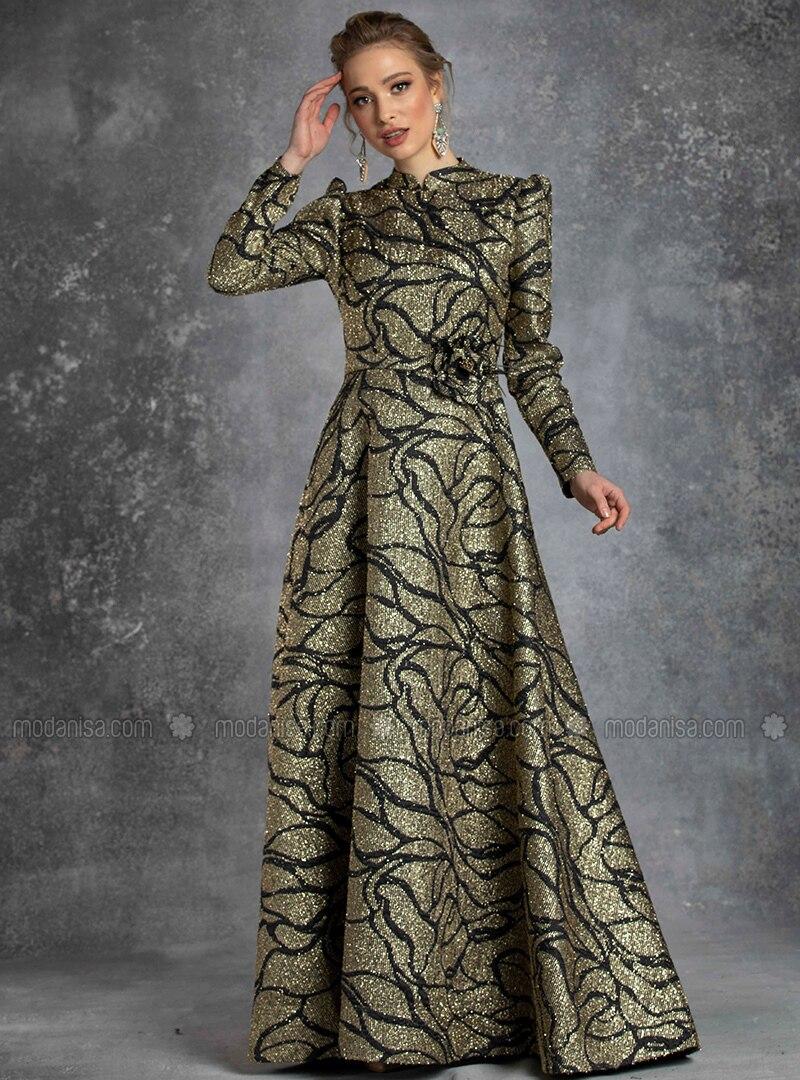 livraison gratuite texture nette modèles à la mode Noir - Doré - Multicolore - Col chinois - Robe de soirée - Eldia By Fatıma