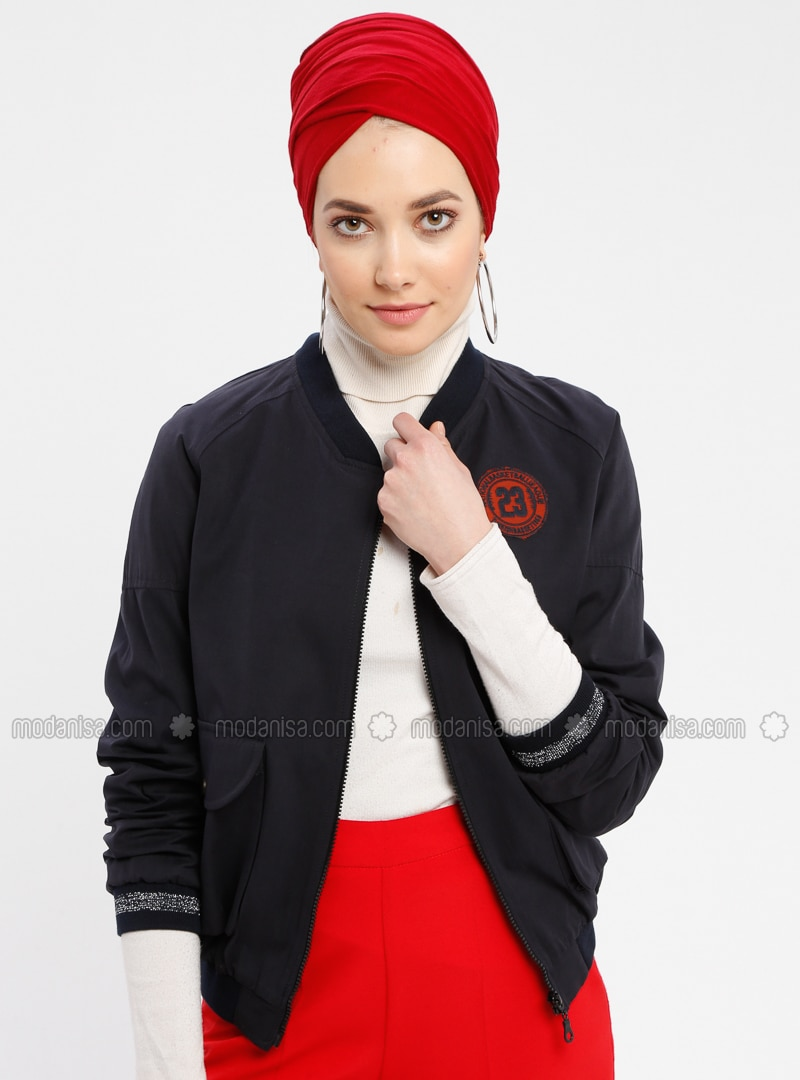 Navy Blue - Fully Lined - Crew neck - Puffer Jackets