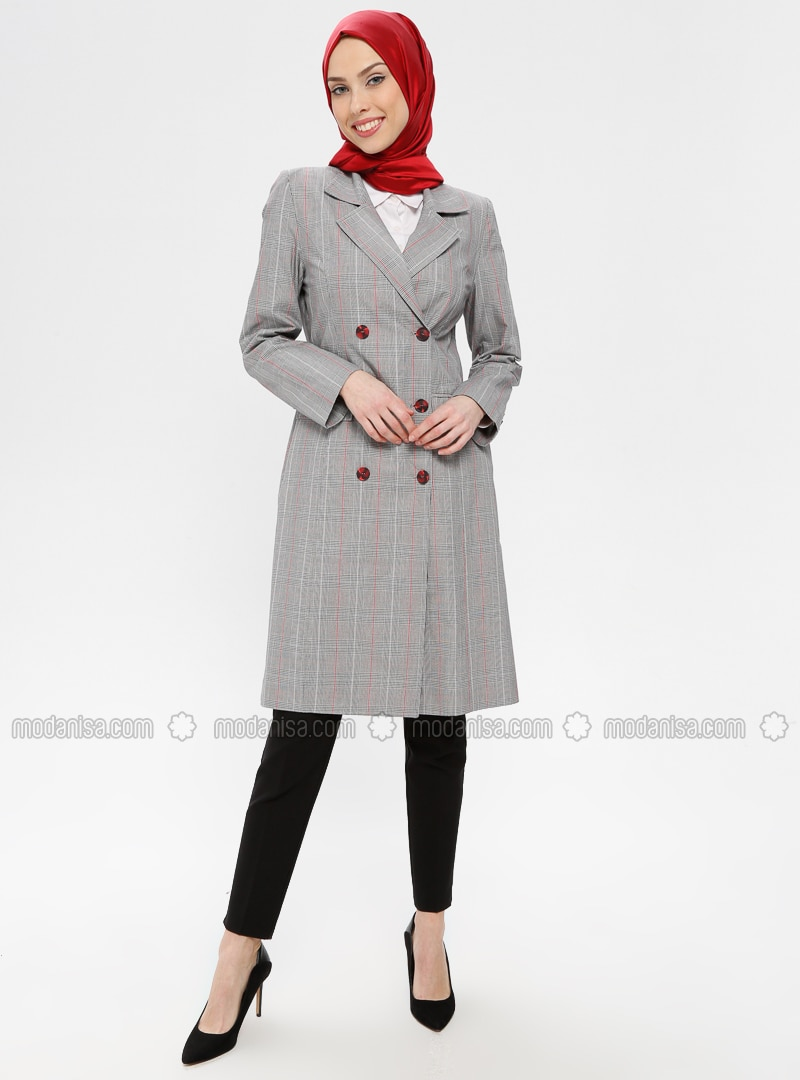 Red - Gray - Checkered - Unlined - Shawl Collar - Topcoat
