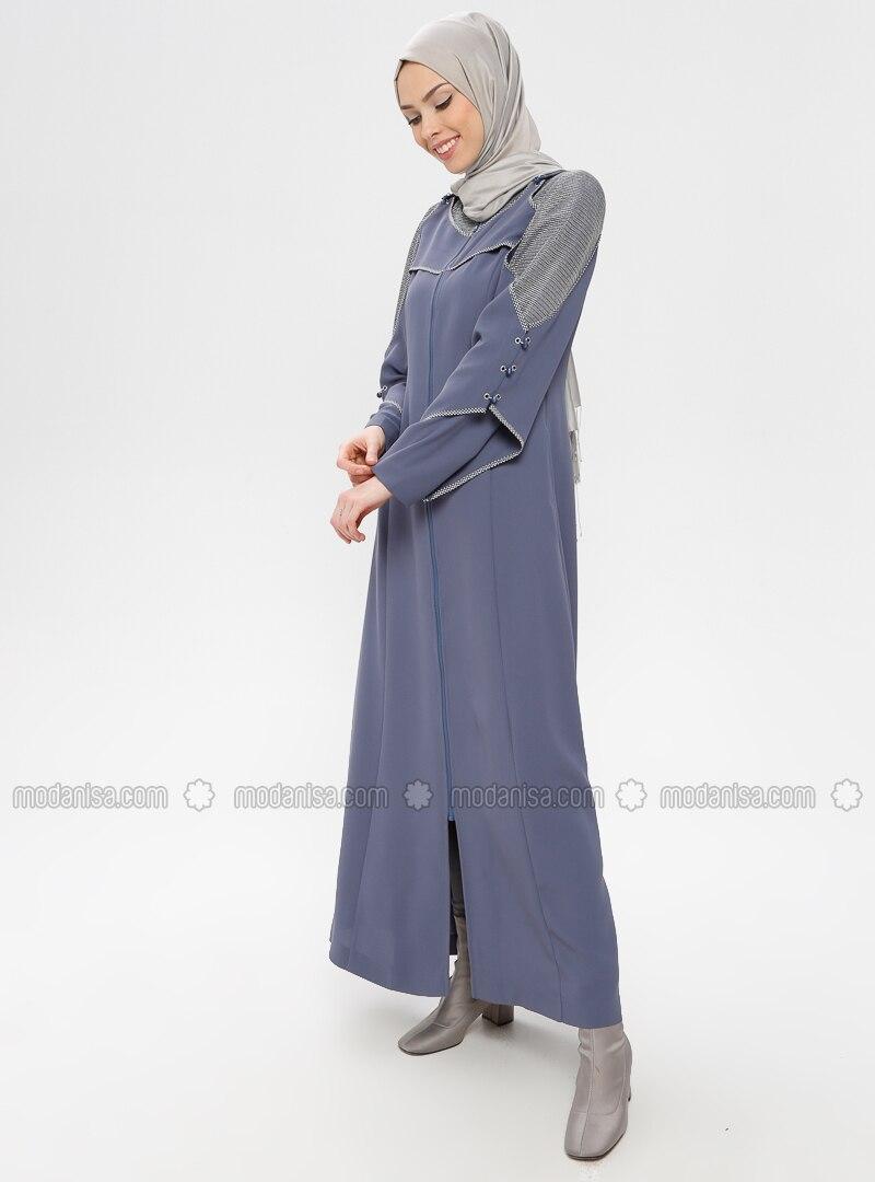 Blue - Unlined - Crew neck - Topcoat
