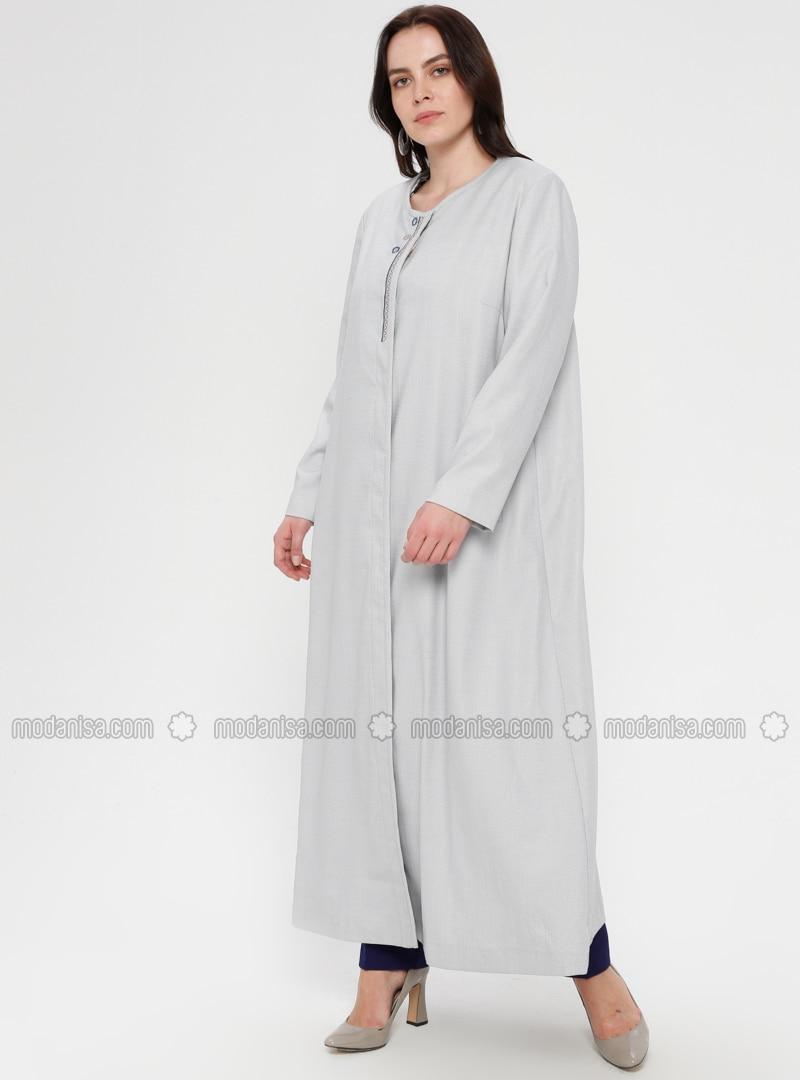 Blue - Unlined - Crew neck - Plus Size Coat