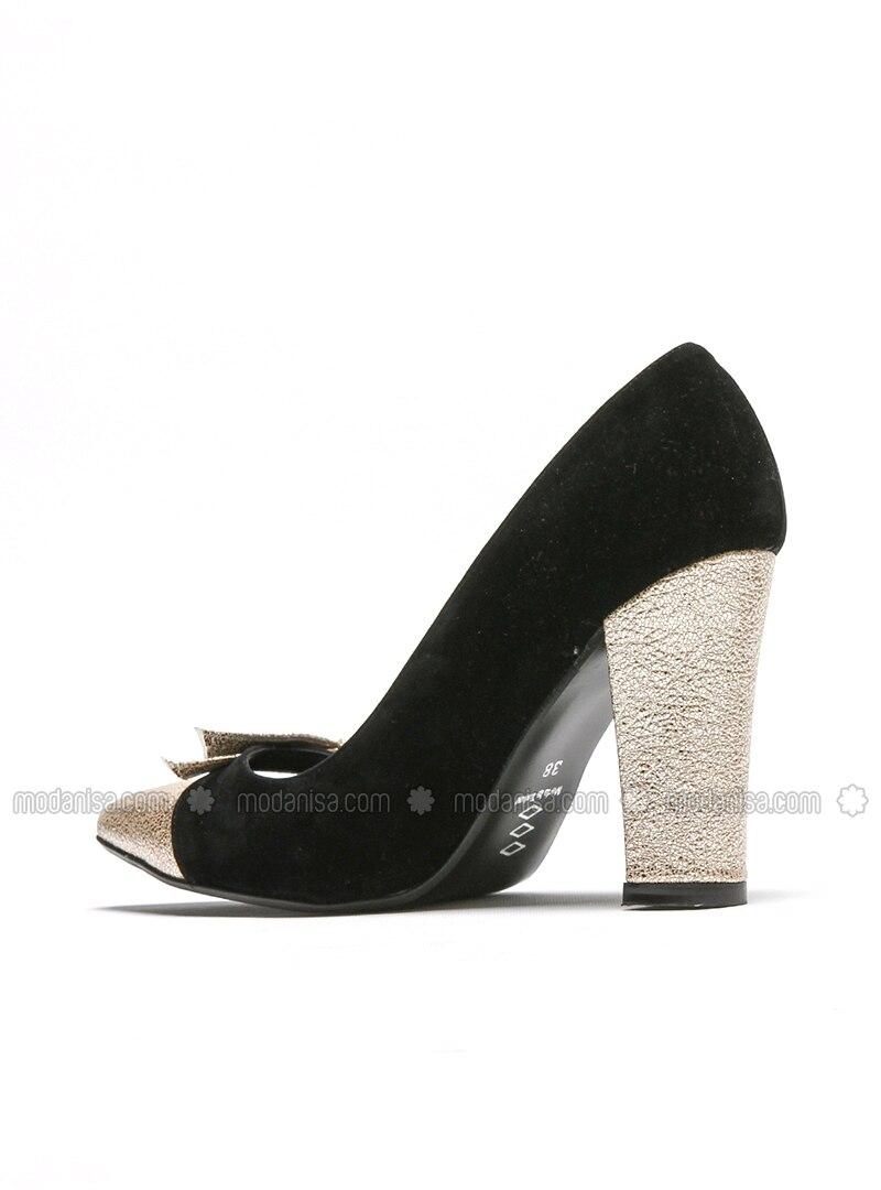 Black Gold High Heel Sports Shoes