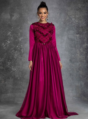 Fuchsia - Crew neck - Muslim Evening Dress - Eldia By Fatıma