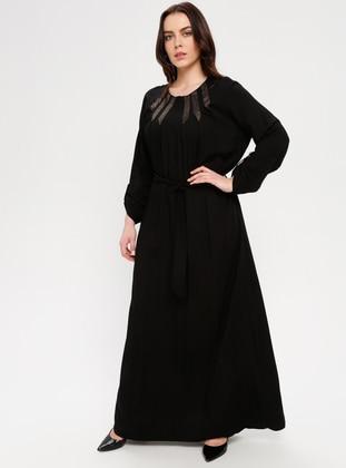 Black - Unlined - Plus Size Dress - BAGİZA