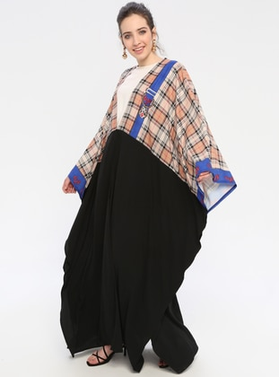 Black - Beige - Multi - Unlined - Shawl Collar - Abaya