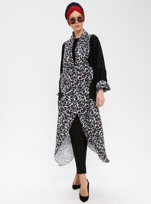 Black - Gray - Leopard - Shawl Collar - V neck Collar - Tunic