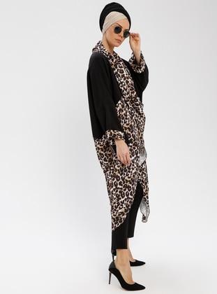 Black - Leopard - Shawl Collar - V neck Collar - Tunic