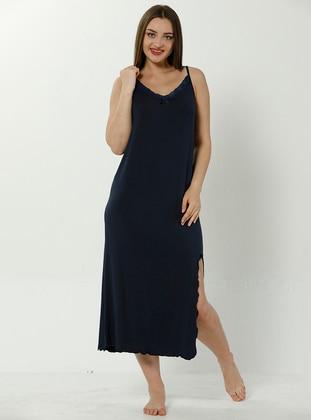 Navy Blue - V neck Collar - Cotton - Nightdress - AKBENİZ