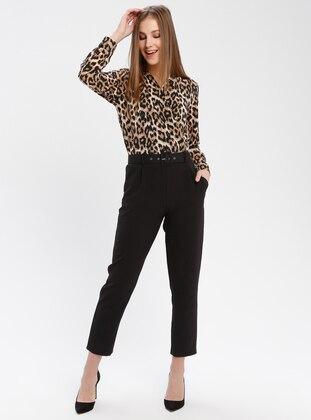 Black - Brown - Leopard - Unlined - V neck Collar - Jumpsuit