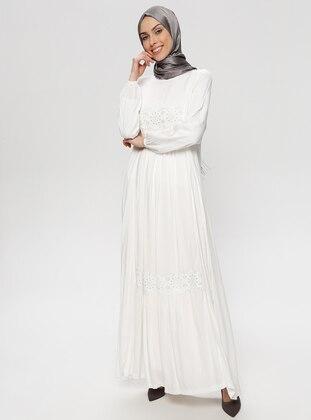 White - Ecru - Crew neck - Unlined - Viscose - Dress - BAGİZA