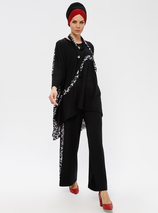 Black - Gray - Leopard - Unlined - Viscose - Suit