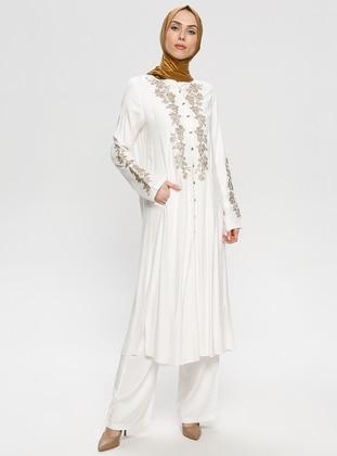 White - Ecru - Unlined - Viscose - Suit - BAGİZA